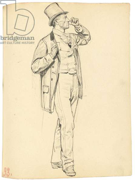 Study for 'A Parisian Cafe': Standing Man with Raised Arm, c. 1872-1875 (pencil on paper)
