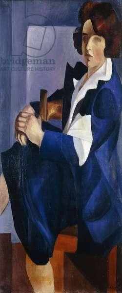 Portrait of a Woman in Blue; Portrait de Femme en Bleu,  (oil on canvas)