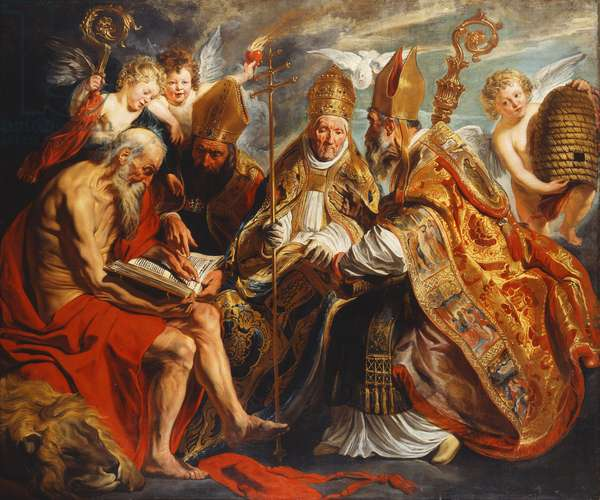 The Four Doctors of the Church,  (oil on canvas)