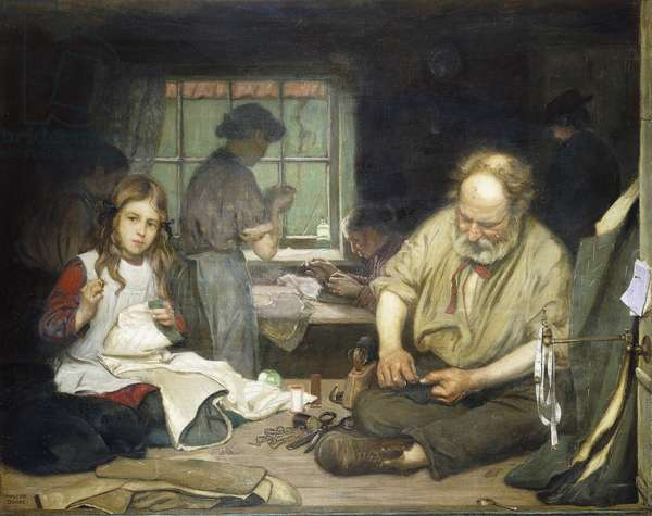 Stitch Stitch, The Home of a London Tailor, (oil on canvas)
