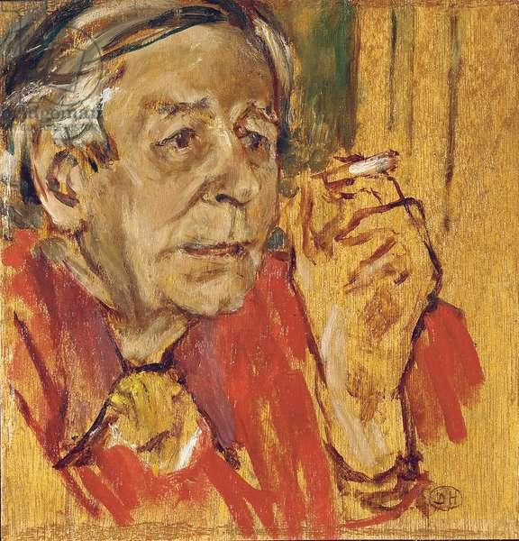 Portrait of Raymond Mortimer (oil on panel)