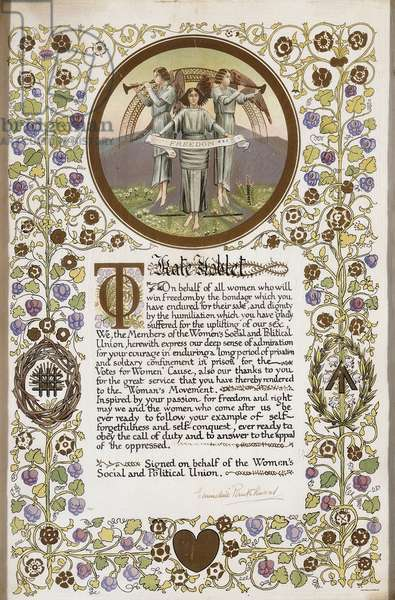 A printed certificate of achievement presented to Kate Noblet,  (chromolithograph)
