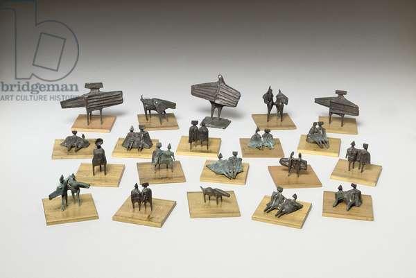 Group of twenty miniature figures (bronze)
