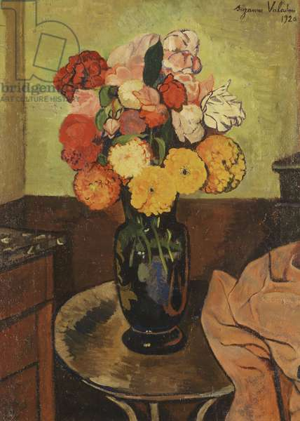 Vase of Flowers on a Round Table; Vase de Fleurs sur une Table Ronde, 1920 (oil on board)