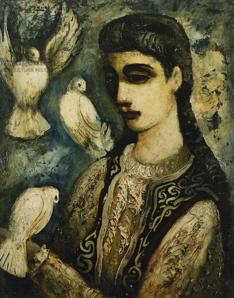 Girl and Doves, (oil on board)