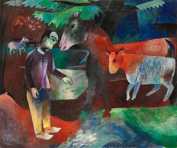 Man, Horse, Cow; Mann, Pferd, Kuh, c.1918 (oil on canvas)