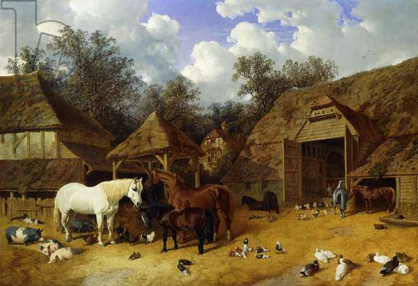 The Artist's Farmyard at Meopham, Kent, with Horses, Shetland Ponies, Pigs, Ducks, Pigeons and Chickens, 1857 (oil on canvas)