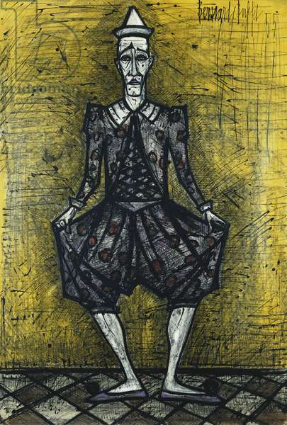 Clown on a Yellow Background; Clown au Fond Jaune, 1955 (watercolour, brush and black ink on paper)