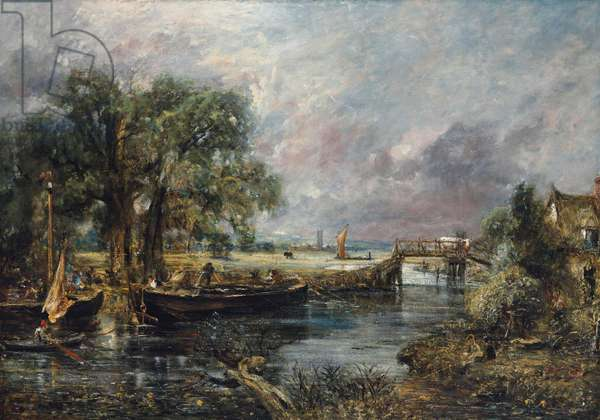 View on the Stour near Dedham, full-scale sketch, c.1821-22 (oil on canvas)