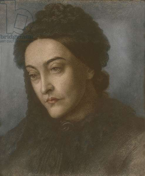 Portrait of Christina Rossetti, head and shoulders, turned three-quarters to the left, 1877 (pastel on paper)