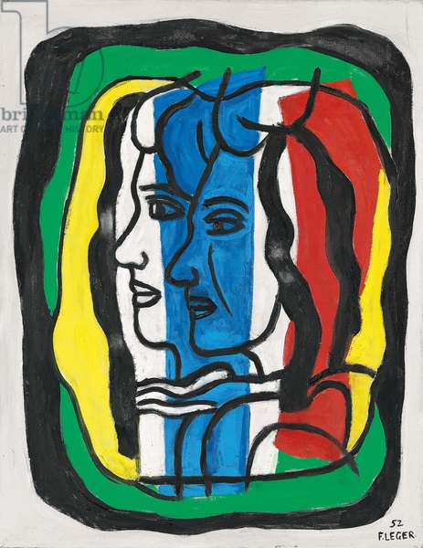 Composition with two profiles, 1952 (oil on canvas)