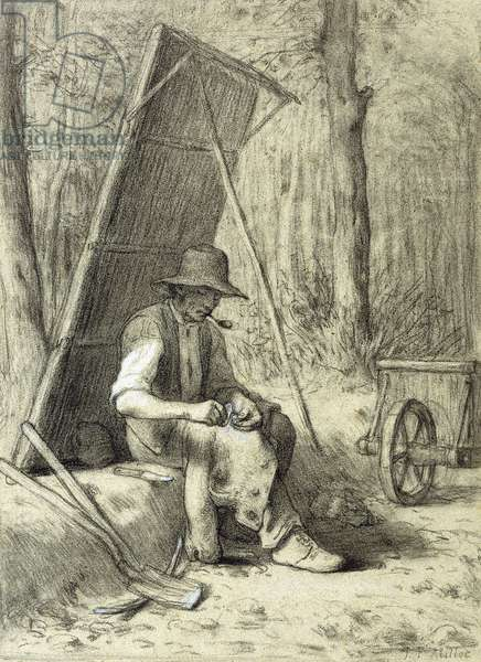 The Road Mender,  (black and white chalks on blue paper)