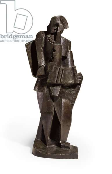 Harlequin with an Accordion; Arlequin a l'Accordeon, 1919 (bronze with brown and green patina)