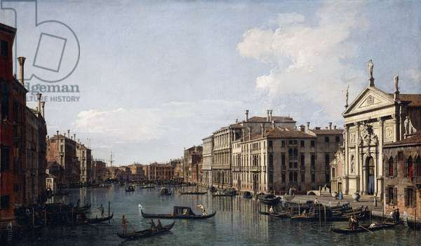 The Grand Canal, Venice, looking South-East from San Stae to the Fabbriche Nuove di Rialto,  (oil on canvas)