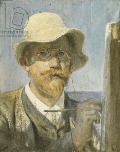 A Self-Portrait of the Artist, head and shoulders at his Easel, (oil on canvas)