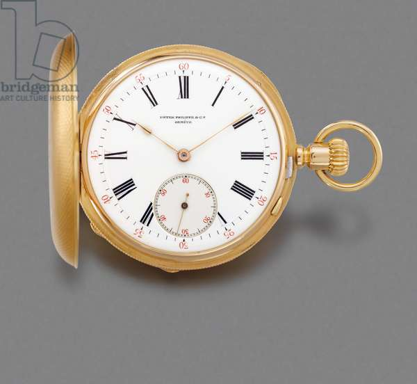 Hunter Case Dual Time Zone Keyless Lever Watch with Two Dials, 1886 (18k gold case with enamel dials)