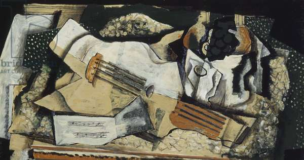 Guitar, Fruitbowl and Sheet Music, 1919 (oil on canvas)