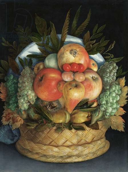 Reversible anthropomorphic portrait of a man composed of fruit (oil on panel)