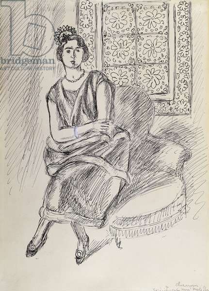Henriette au Moucharabie; Henriette and Moucharabieh Window, 1921-22 (pen and black ink on paper)