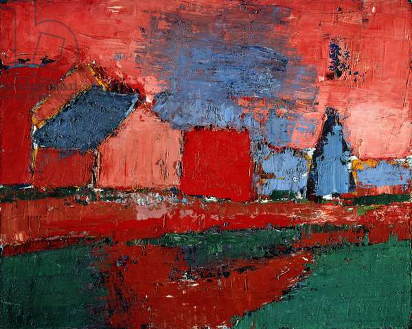 Tree and houses (Landscape), 1954 (oil on canvas)