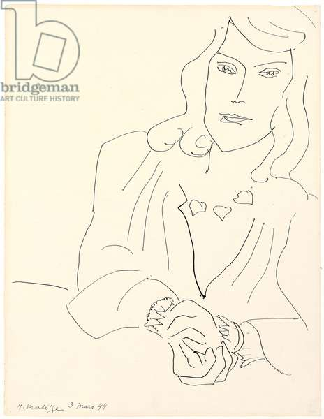 Woman's Head with a Necklace; Tete de femme avec Collier, 1944 (pen and ink on paper)