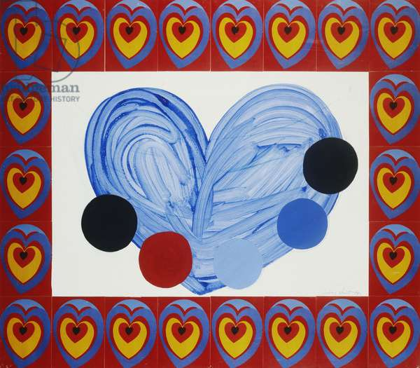 Collage of Hearts, 1987 (oil and collage on paper)