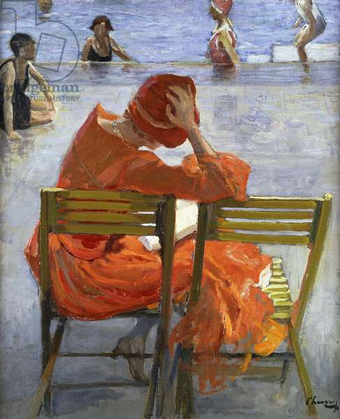 Girl in a Red Dress, Seated by a Swimming Pool, 1936 (oil on board)
