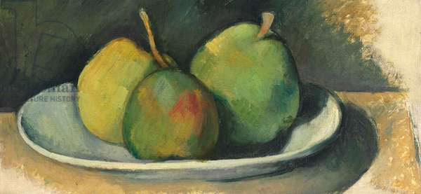 Pears on a white plate (oil on canvas)