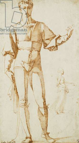 A Standing Youth, and Studies of a Woman, Her Left Arm Outstretched, (pen and brown ink)