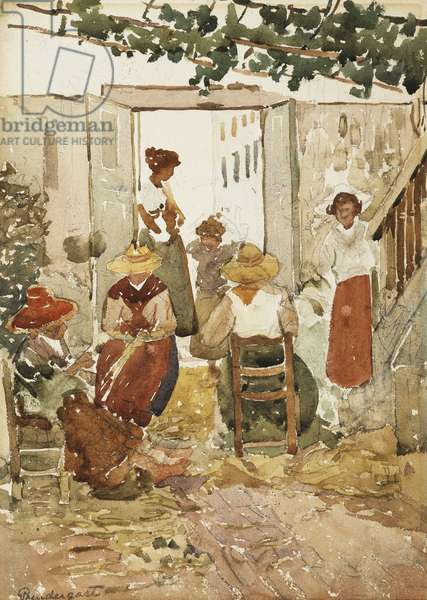 Lacemakers, Venice, 1898 (watercolour and pencil on paper)