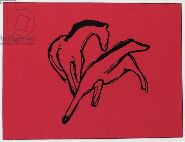 Two Horses (Almanac Vignette); Zwei Pferdchen (Almanach-Vignette), 1912 (pen and India ink on red paper)