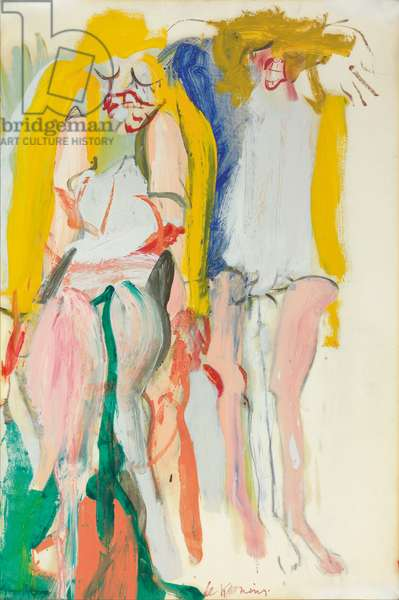 Women Singing I, 1966 (oil and charcoal on paper laid down on canvas)