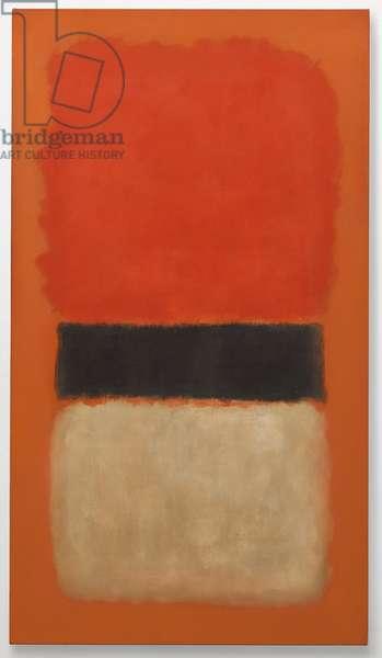 Black Stripe (Orange, Gold and Black), 1957 (oil on canvas)