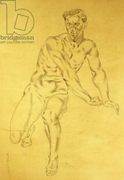 Nude Man; Homme Nu,  (pencil on tan paper)