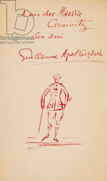 Inscription to Maurice Cremnitz from 'Le Poéte Assassiné', 1916 (pen & ink on paper)