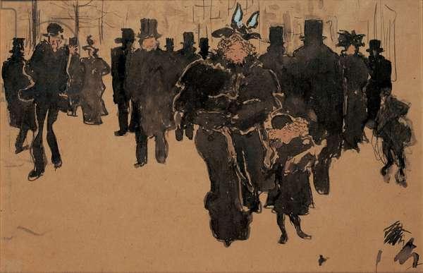 Le boulevard, c.1890 (w/c, ink & wash on buff paper)