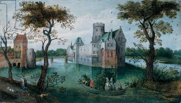 A moated Castle with elegant Figures in a Boat and a Huntsman and his Dogs on a Path in the foreground (oil on panel)