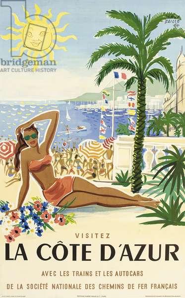 La Cote d'Azur, 1955 (colour litho)