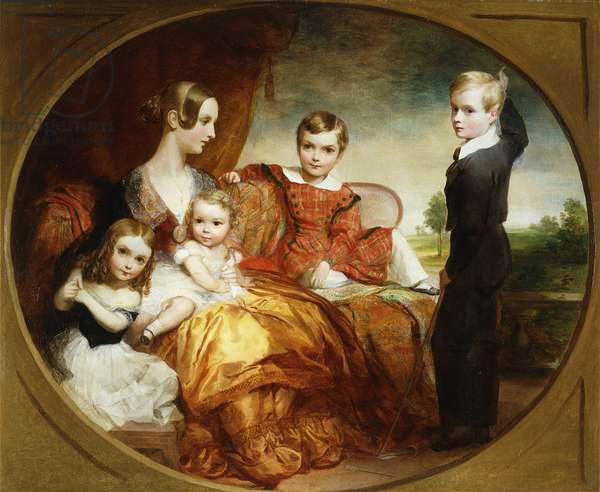 A Group Portrait of a Lady with her Four Children on a Terrace, 1843 (oil on canvas)