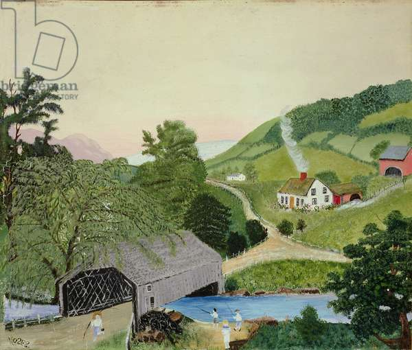 Hills of New England, Covered Bridge (oil on masonite)