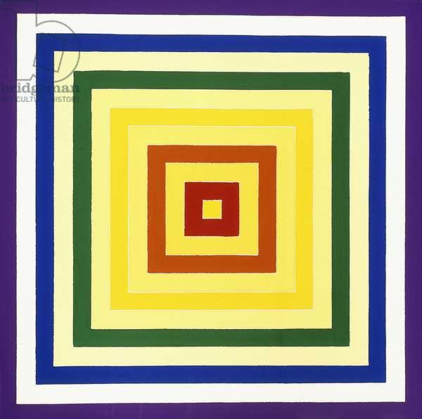 Scramble: Ascending Yellow Values/Descending Spectrum, 1977 (acrylic on canvas)