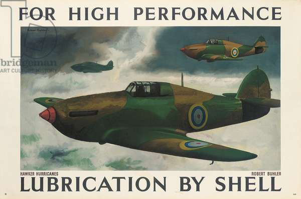 For High Performance Lubrication by Shell', an advertising poster (colour lithograph)