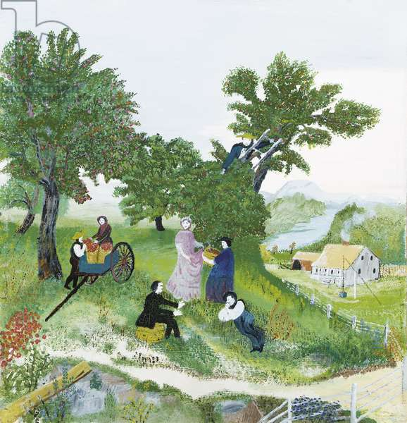 Apple Pickers, c.1940 (oil on board)