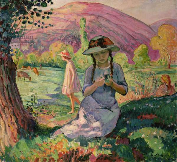 Young Girl picking Flowers, 1910