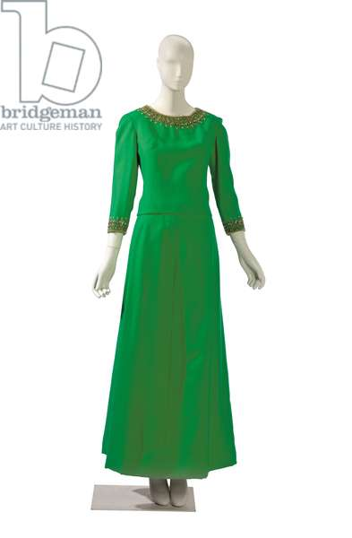 Kelly green wool and beaded two-piece ensemble, Balmain, probably 1950s - 1960s (photo)