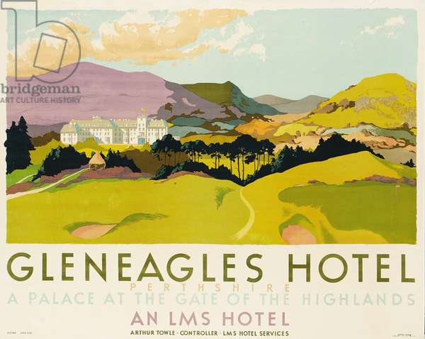 Gleneagles Hotel, poster advertising the LMS, 1924 (colour litho)