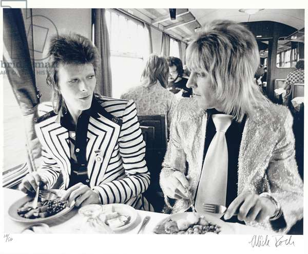 David Bowie and Mick Ronson (b/w photo)