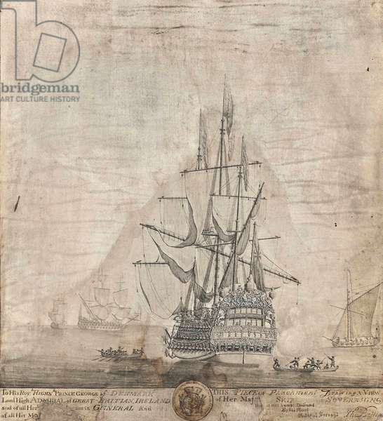 View of Her Majesty's Ship Royal Sovereign (pencil, pen & ink and wash on paper laid down on panel)