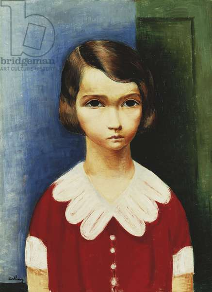 Girl in a Red Shirt; Jeune Fille en Chemise Rouge, (oil on canvas)