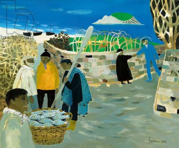 Irish Fishermen, 1988 (oil on canvas)